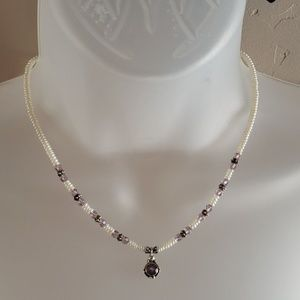 💍Lori Waters💍Sterling/pearl/Crystal necklace